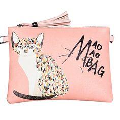 Women's Cartoon Pattern Tasseled Zip Closure Shoulder Bag