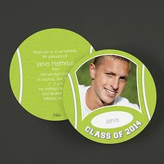 """Tennis Star Graduation Announcement   Have your tennis star show their photo on this two-sided circular announcement.  Dimensions: 5 3/4"""" Diameter Card• Price Includes: Blank, single standard-rate bright white envelopes • Production Time: 3 Working Days • Photo(s) will be printed as submitted • Layout available only as shown"""