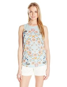 Lucky Brand Women's Flower Surf Tank Top, Gray Mist, Small- #fashion #Apparel find more at lowpricebooks.co - #fashion