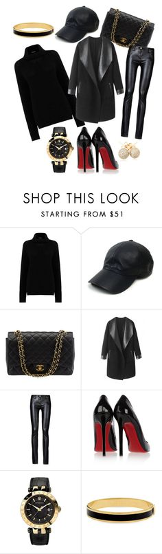 """""""Mustanpuhuvaa"""" by jiroutconsulting on Polyvore featuring Warehouse, Vianel, Chanel, Columbia, Christian Louboutin, Versace, Halcyon Days and Loushelou"""