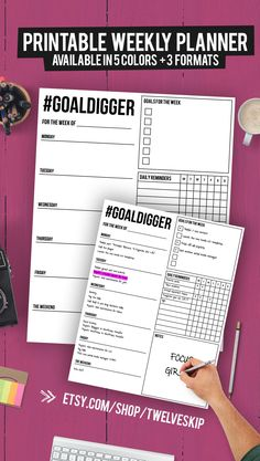 Keep track of your weekly goals with this beast printable WEEKLY planner #GOALDIGGER - available in 3 formats (for binders, for clipboards, borderless) and in 5 different colors. Get it here @ https://www.etsy.com/listing/245857457/weekly-planner-printable-weekly