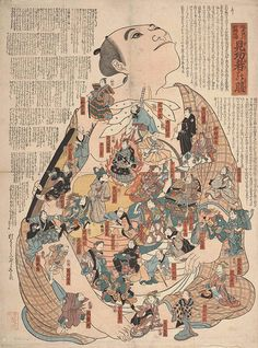japan medical_print_22  Bodily functions personified as popular kabuki actors - Artist unknown, late 19th century