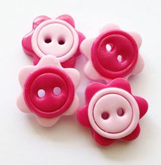 Pink flower buttons polymer clay handmade buttons pink by ayarina, $5.99