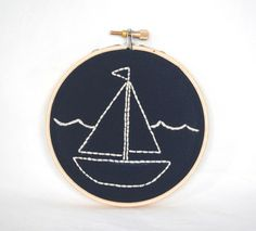 Sail Boat Nautical Embroidery Hoop