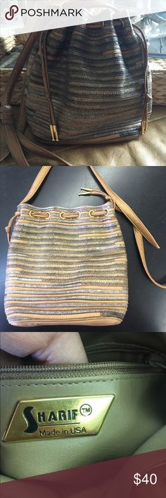 Vintage Sharif 3 tone metallic shoulder bag Gold silver and bronze in color 9 inches across 8 inches height 4 inch depth 18 inch shoulder drop that can be shortened or lengthened Bags Shoulder Bags