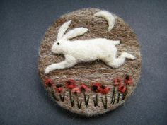 Hand Made Needle Felted Brooch/Gift 'The Leaping Hare' by Tracey Dunn | eBay