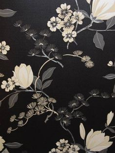 Floral Oriental - Black  LOVE this pattern!!! Would make a great upholstered headboard gor a night-shifter's dark bedroom!!!  ; ) Grey walls, black curtains & furniture...