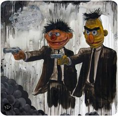 Funny take on Banksy Pulp Fiction Artwork Street Art Graffiti, Street Mural, Art And Illustration, Banksy, Urbane Kunst, Amazing Street Art, Wow Art, Arte Popular, Popular Art