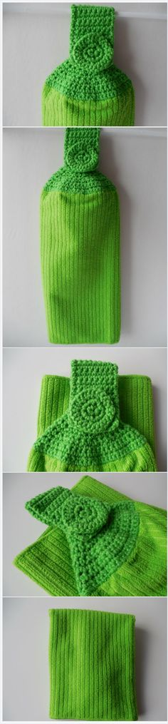 Green Kitchen Towel  with Green Crochet Top - Crochet Top Towel - Handmade Crochet - Ready to Ship