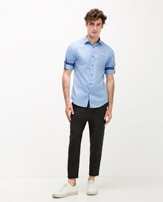 ZARA - MAN - PRINTED SHIRT WITH PIPED POCKET AND ROLLED TAB SLEEVES