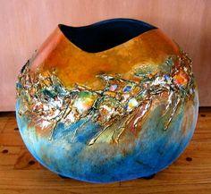 JoAnn Vanderheite Decorative Gourds, Hand Painted Gourds, How To Dry Gourds, Pumpkin Crafts, Gourd Crafts, Gourds Birdhouse, Gourd Art, Ceramic Pottery, Leather Craft