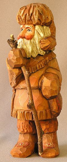 Woodsmen Santa Wood Carving Christmas Figure by ScottCarvings on Etsy - This woodsman Santa is on his way to the north woods for Christmas.