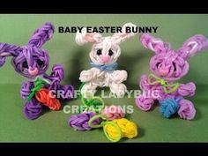 Make a Rainbow Loom Baby Easter Bunny Charm - Loom Show Rainbow Loom Tutorials, Rainbow Loom Patterns, Rainbow Loom Creations, Rainbow Loom Charms, Rainbow Loom Bracelets, Rainbow Loom Animals, Loom Bands Tutorial, Wonder Loom, Crazy Loom