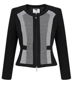 Anthea Crawford Australia Black & Ivory Panel Zip Front Jacket