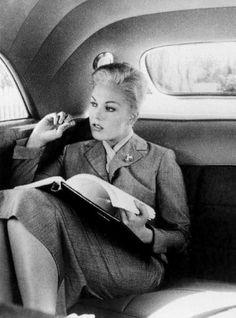 Kim Novak on her way to the studio, 1950s