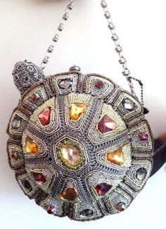 Mary Frances Tortuga Tortoise Turtle Metal Bead Bag Purse Handbag NEW Summer 13