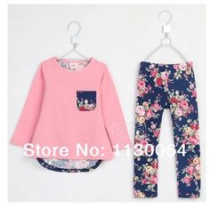 2014 new spring fashion long-sleeved printed T-shirts and floral patterned leggings girls suit   100% cotton children suits US $15.99