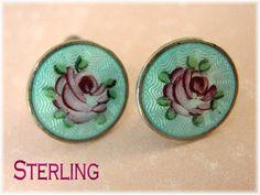 Guilloche Sterling Silver Blue Enamel ~ Norway Flower Red Rose Heart Screw Back Earrings - Victorian @@ FREE SHIPPING @@