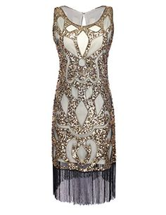 PrettyGuide Women 1920's Sequin Art Deco Hollow Paisley Tribe Cocktail Flapper Dress >>> Learn more by visiting the image link.