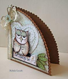 A fun shaped owl card! Fancy Fold Cards, Folded Cards, 3d Templates, Card Making Templates, Owl Punch Cards, Karten Diy, Owl Card, Shaped Cards, Cricut Cards