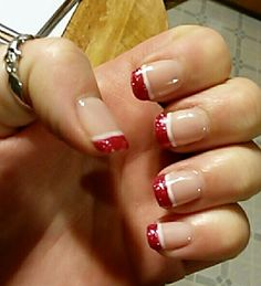 Pink and white French gel nail design