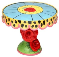 Amazon.com: Appletree 7-1/4-Inch Sugar High Social by Babs Ceramic Cake Stand: Kitchen & Dining