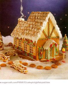 Fairy Tale Gingerbread Thatched Roof Cottage Not your average Gingerbread House! This Gingerbread cottage is complete with a thatched roof and chimney! Gingerbread House Pictures, Gingerbread House Designs, Gingerbread House Parties, Gingerbread Village, Christmas Gingerbread House, Gingerbread Man, Gingerbread Recipes, Christmas Goodies, Christmas Baking