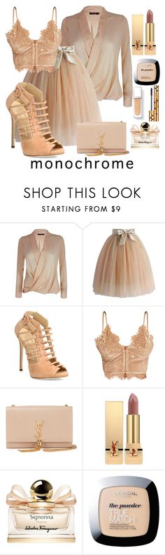 """""""Senza titolo #289"""" by hilary180491 ❤ liked on Polyvore featuring Chicwish, Giuseppe Zanotti, Yves Saint Laurent, Salvatore Ferragamo and L'Oréal Paris"""