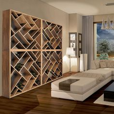 contemporary wooden wine rack - each section 1m x 1m x 30cm