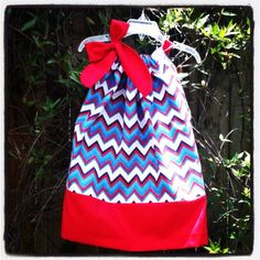 Beautiful Red, White, and Blue Chevron with red trim and tie pillowcase dress- infant-baby-toddler-girl- memorial day- fourth of july 4th  on Etsy, $17.00