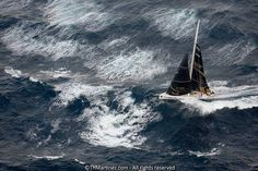 by Thierry Martinez of single-handed French Yachtsman  Bertrand Le Broc sailing his monohull IMOCA in stormy seas