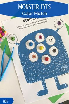 Monster eyes match, a fun, and FREE, printable activity for your young ones to work on fine motor and color recognition skills! #freebie #freeprintables #funlearning #teachmemommydotcom Halloween Science, Fun Halloween Crafts, Halloween Activities For Kids, Crafts For Kids, Fine Motor Activities For Kids, Preschool Activities, Monster Crafts, Monster Eyes, Alphabet Games