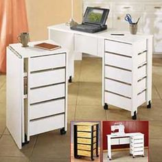 Foldaway Mobile Workcenter (from: GET ORGANIZED). This would be great for a small space in a craft room.