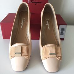 SALVATORE FERRAGAMO MY MUSE SAFFIANO LEATHER FLATS SALVATORE FERRAGAMO My Muse   -Condition: Brand New With Original Box + Dust Bag. -Size: 8.5 -Model: My Muse Bow Flats. -Color: Nude. -Saffiano Patent Leather Bow Ballet Fats. -A pleated grosgrain bow trims the toe of this ladylike leather pair. -Leather upper with grosgrain bow adornment. -Leather lining. -Rubber sole. -Padded insole. -Made in Italy. -Retails for 375.00 -Smoke Free Environment. -Same Day Shipping. Salvatore Ferragamo Shoes…