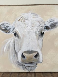 Farmhouse Decor Handpainted Cow Portrait Acrylic Painting Neutral Color Cow painting on Canvas White cow on neutral canvas Home Decor Cow Paintings On Canvas, Cow Canvas, Cross Paintings, Your Paintings, Animal Paintings, Canvas Art, Face Paintings, Black Canvas, Farmhouse Paintings