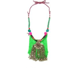 Sweetlime Green Fringe Necklace ($185) ❤ liked on Polyvore featuring jewelry, necklaces, tribal necklace, multi color beaded necklace, wooden pendant necklace, wood necklace and beaded necklaces