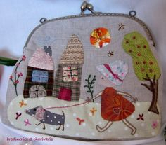 embroidered pouch // (ooh! just gave me the idea to make little bags/pouches out of quilt squares..)