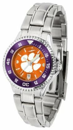 Clemson Tigers Competitor AnoChrome Ladies Watch with Steel Band and Colored Bezel by SunTime. $91.67. Showcase the hottest design in watches today! The functional rotating bezel is color-coordinated to compliment the Clemson Tigers logo. The Competitor Steel utilizes an attractive and secure stainless steel band.The AnoChrome dial option increases the visual impact of any watch with a stunning radial reflection similar to that of the underside of a CD. Perceived va...