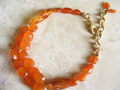 Tangerine Carnelian Briolette Bracelet by DeborahDurikDesigns, $35.00