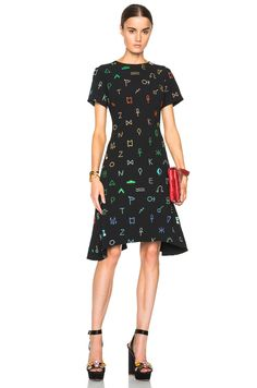 Image 1 of KENZO Symbols Print Embroidered Crepe Dress in Multi