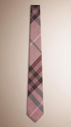 Burberry Coral Pink Modern Cut Check Silk Tie - A hand-finished silk tie with check pattern. Woven in Italy. Discover men's tailoring at Burberry.com