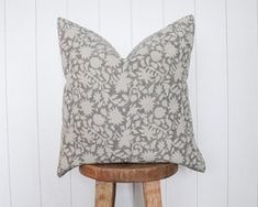 IKEA Billy Bookcase Hack - Wall Of Built-ins - The Sommer Home Floral Pillows, Linen Pillows, Linen Fabric, Throw Pillows, Ikea Billy Bookcase Hack, Decorative Pillow Covers, Fabric Design, Hand Weaving, Gray