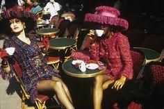 Karen Mulder and Deon Bray at le Café de Flore