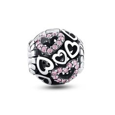 Buy Pandora Heart To Heart Pink Crystal Charm For Sale UK. Shop 2017 New Pandora Charms Collection with reasonable price but original quality. Pandora Charms Rose Gold, Pandora Beads, Pandora Jewelry, Silver Charms, Pandora Bracelets, Mens Sterling Silver Necklace, Silver Earrings, Swarovski, Cheap Silver Rings