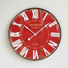 Shop our clocks at Mix Furniture!  Large faux red barn wood wall clock with white metal roman numerals.  Battery operated.