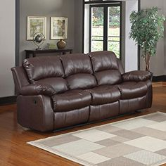 3 seat Sofa Double Recliner Black / Brown Bonded Leather (Brown)