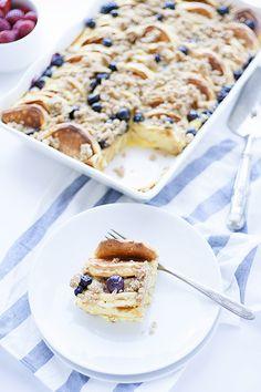 lemon-ricotta overnight pancake casserole with blueberries - Heather's French Press