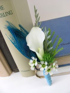 Awesome boutonniere for a teal or turquoise wedding! White calla, white waxflower, 'green trick' dianthus, lycopodium, and a peacock feather.