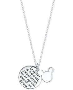 Disney Mickey Mouse Inspirational Pendant Necklace in Sterling Silver - Necklaces - Jewelry & Watches - Macy's
