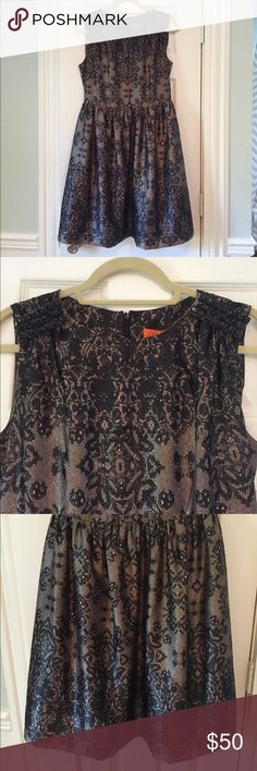 NWT Lace Printed Silky Dress Rhinestone Shoulders Lace Printed Silky Dress with Black Rhinestone Shoulders Joe Fresh Dresses Midi